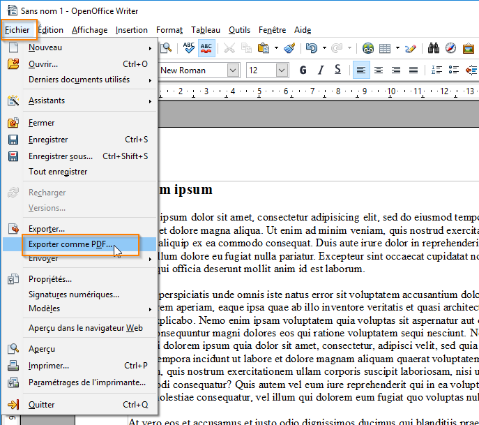 Centre d apprentissage creer un pdf avec open office - Comment faire un organigramme open office ...