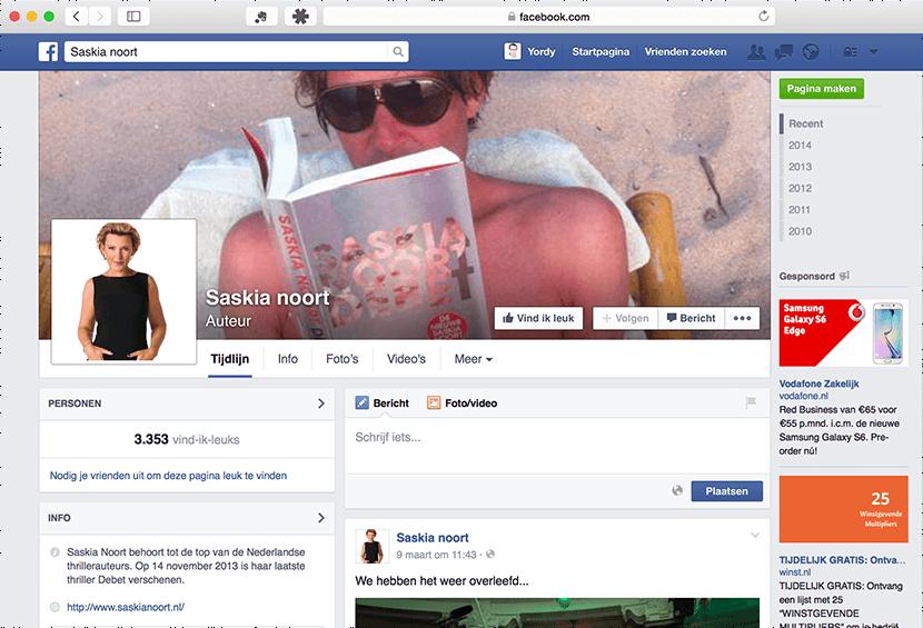 Het Facebook-profiel van Saskia Noort