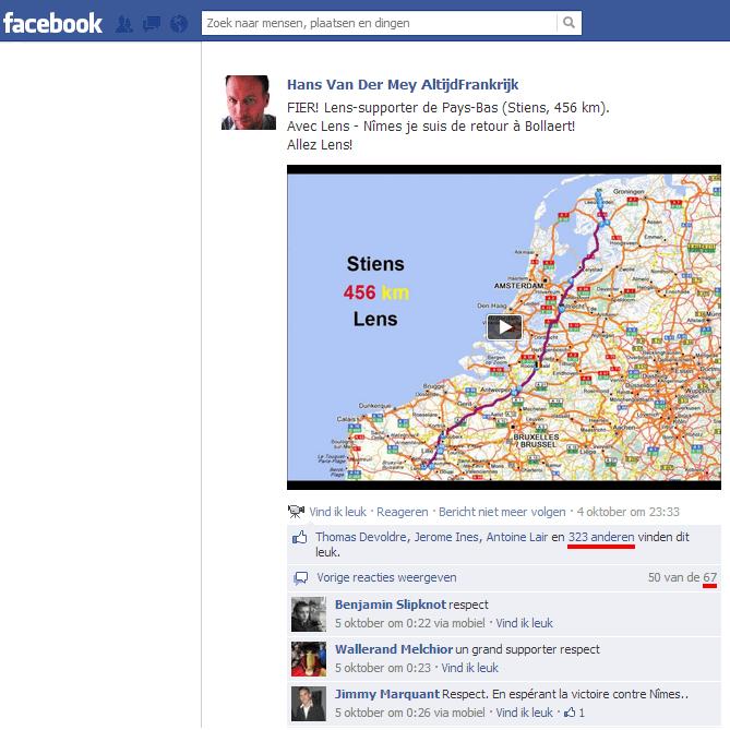 Facebook-bericht Hans van der Mey