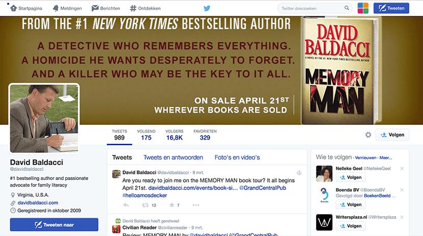 Het Twitter-profiel van David Baldacci