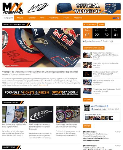 De website van Max Verstappen