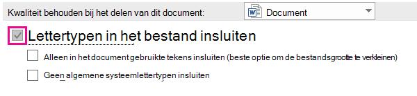 Microsoft Word lettertype insluiten
