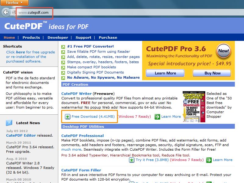 PDF aanmaken met CutePDF