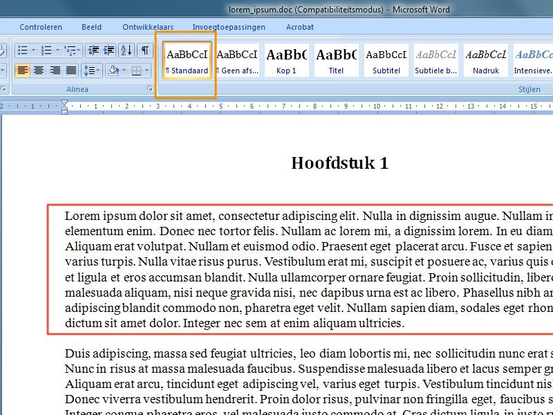 Werken met stijlen en inhoudsopgave in Office 2007