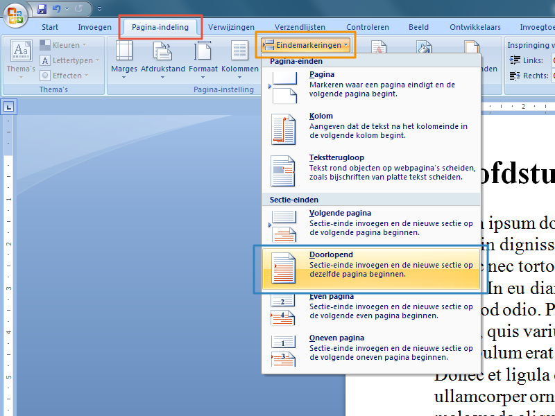 Werken met secties in Office 2007