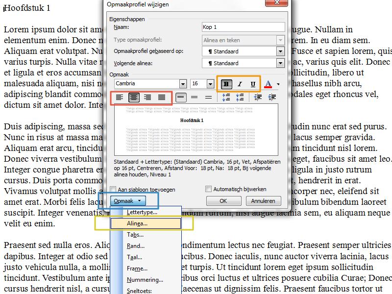 Werken met stijlen en inhoudsopgave in Office 2003