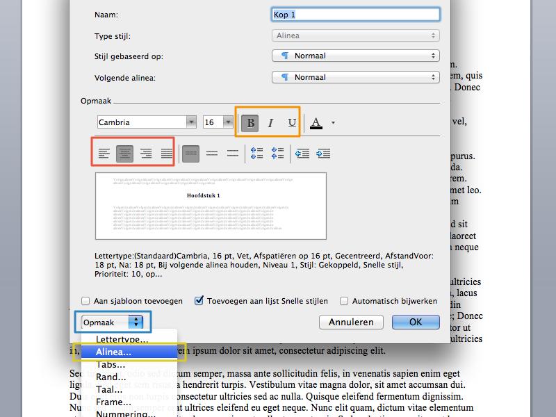 Werken met stijlen en inhoudsopgave in Office Mac 2011