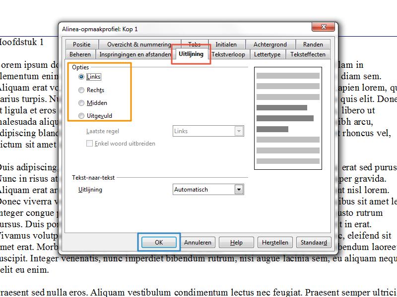 Werken met stijlen en inhoudsopgave in Open Office