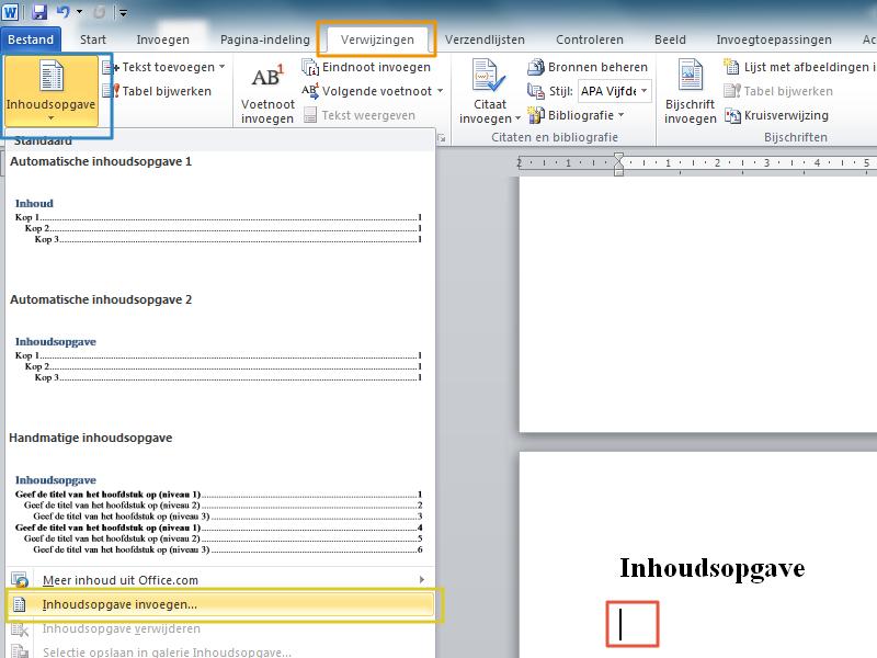 Werken met stijlen en inhoudsopgave in Office 2010